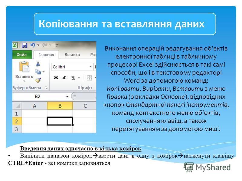 Виконання операцій редагування обєктів електронної таблиці в табличному процесорі Excel здійснюється в такі самі способи, що і в текстовому редакторі Word за допомогою команд: Копіювати, Вирізати, Вставити з меню Правка (з вкладки Основне), відповідн