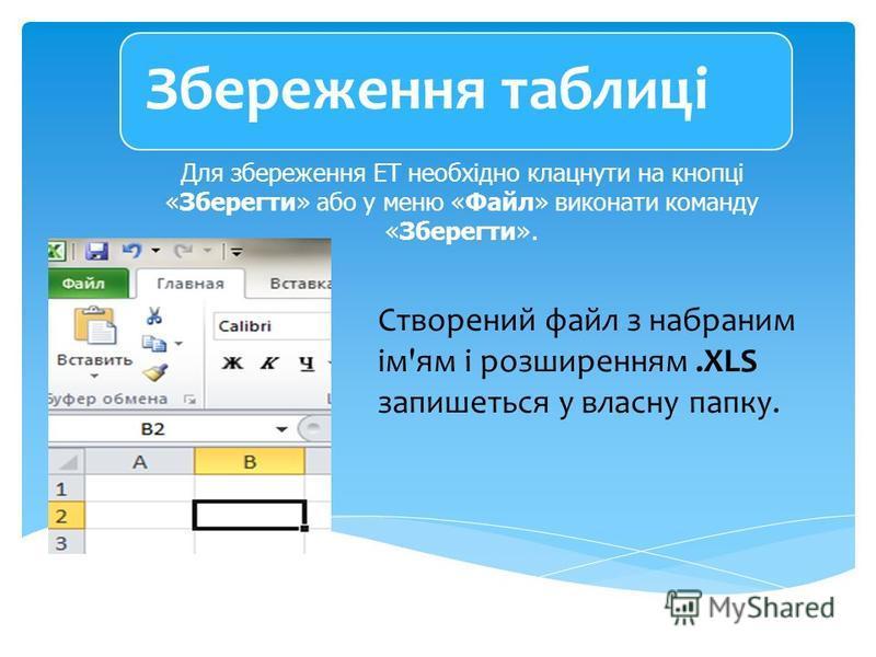 Для збереження ЕТ необхідно клацнути на кнопці «Зберегти» або у меню «Файл» виконати команду «Зберегти». Створений файл з набраним ім'ям і розширенням.ХLS запишеться у власну папку. Збереження таблиці