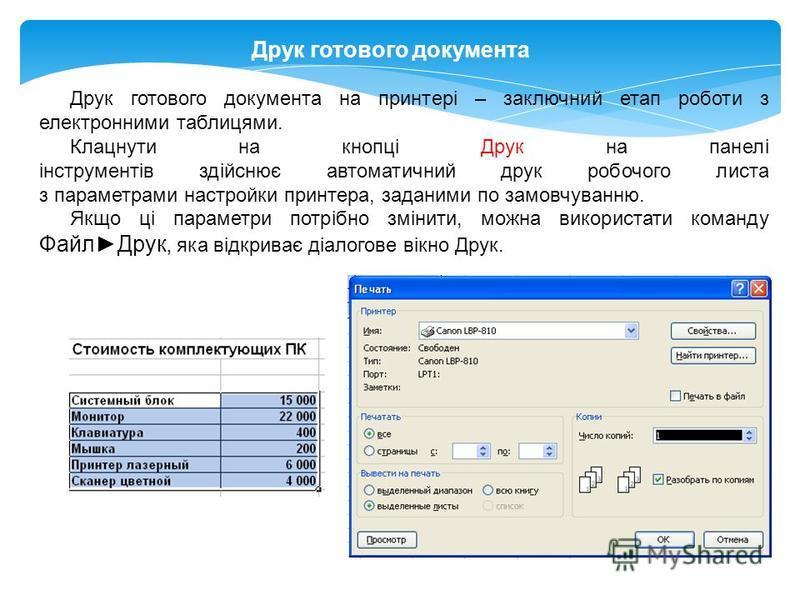 Друк готового документа Друк готового документа на принтері – заключний етап роботи з електронними таблицями. Клацнути на кнопці Друк на панелі інструментів здійснює автоматичний друк робочого листа з параметрами настройки принтера, заданими по замов