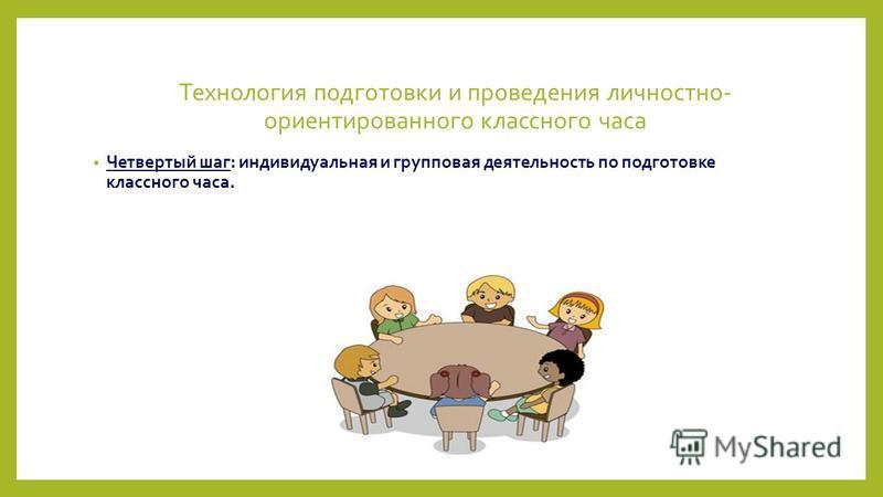 Технология подготовки и проведения личностно- ориентированного классного часа Четвертый шаг: индивидуальная и групповая деятельность по подготовке классного часа.