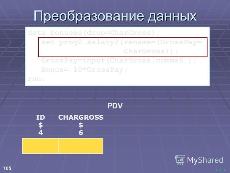 105... Преобразование данных PDV ID $ 4 CHARGROSS $ 6 data bonuses(drop=CharGross); set prog2.salary2(rename=(GrossPay= CharGross)); GrossPay=input(CharGross,comma6.); Bonus=.10*GrossPay; run;