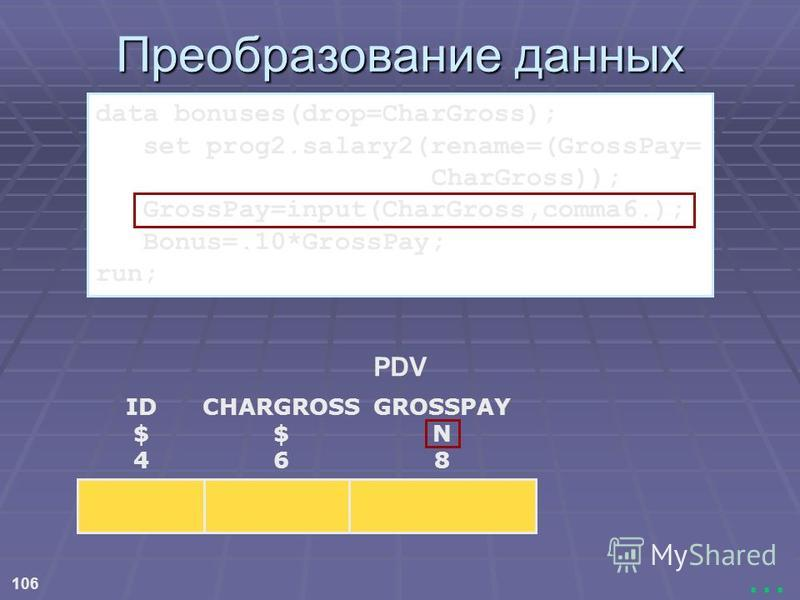 106... Преобразование данных PDV ID $ 4 CHARGROSS $ 6 GROSSPAY N 8 data bonuses(drop=CharGross); set prog2.salary2(rename=(GrossPay= CharGross)); GrossPay=input(CharGross,comma6.); Bonus=.10*GrossPay; run;
