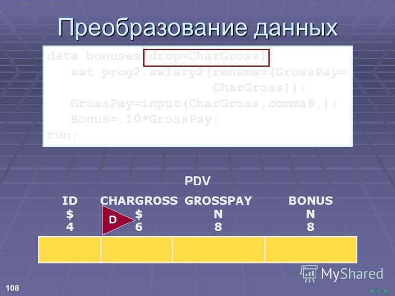 108... Преобразование данных PDV ID $ 4 CHARGROSS $ 6 BONUS N 8 GROSSPAY N 8 D data bonuses(drop=CharGross); set prog2.salary2(rename=(GrossPay= CharGross)); GrossPay=input(CharGross,comma6.); Bonus=.10*GrossPay; run;