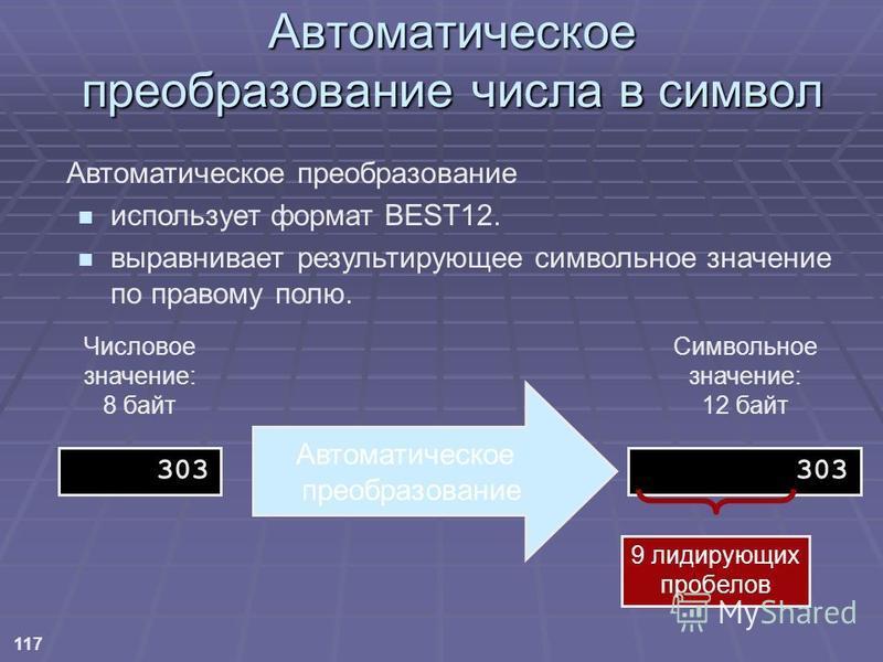 117 Автоматическое преобразование использует формат BEST12. выравнивает результирующее символьное значение по правому полю. Автоматическое преобразование Числовое значение: 8 байт 303 Символьное значение: 12 байт 303 9 лидирующих пробелов Автоматичес