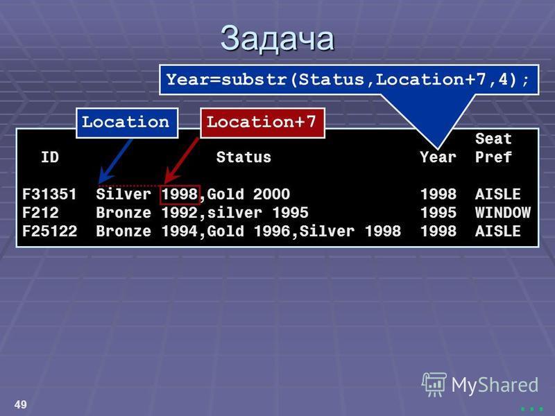49... Задача Seat ID Status Year Pref F31351 Silver 1998,Gold 2000 1998 AISLE F212 Bronze 1992,silver 1995 1995 WINDOW F25122 Bronze 1994,Gold 1996,Silver 1998 1998 AISLE Year=substr(Status,Location+7,4); LocationLocation+7