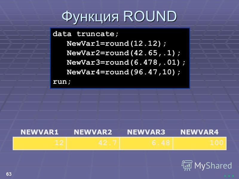 63... Функция ROUND NEWVAR4 100 NEWVAR3 6.48 NEWVAR2 42.7 NEWVAR1 12 data truncate; NewVar1=round(12.12); NewVar2=round(42.65,.1); NewVar3=round(6.478,.01); NewVar4=round(96.47,10); run;