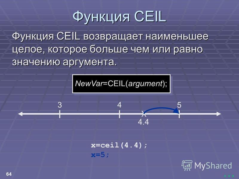 64... Функция CEIL Функция CEIL возвращает наименьшее целое, которое больше чем или равно значению аргумента. 3 4 5 X 4.4 x=5; NewVar=CEIL(argument); x=ceil(4.4);