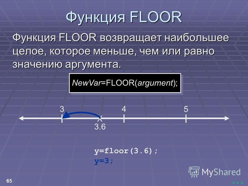 65... Функция FLOOR Функция FLOOR возвращает наибольшее целое, которое меньше, чем или равно значению аргумента. X 3.6 NewVar=FLOOR(argument); 3 4 5 y=3; y=floor(3.6);