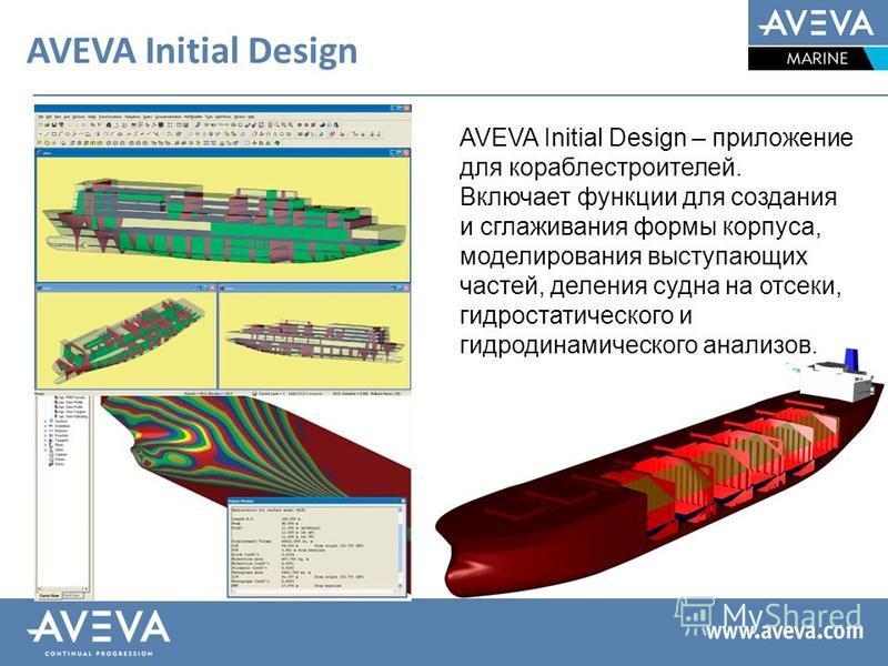 AVEVA Initial Design AVEVA Initial Design – приложение для кораблестроителей. Включает функции для создания и сглаживания формы корпуса, моделирования выступающих частей, деления судна на отсеки, гидростатического и гидродинамического анализов.
