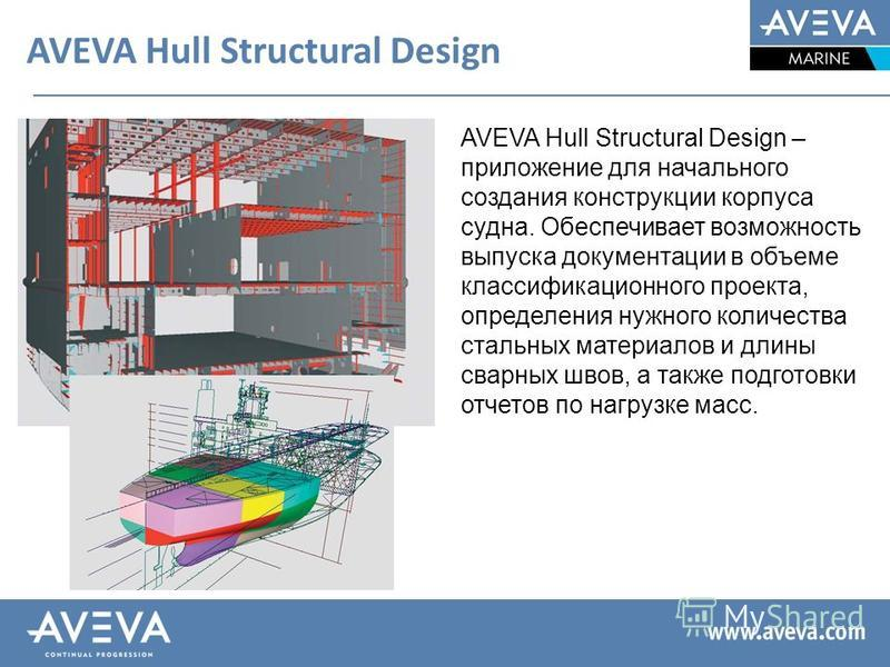 AVEVA Hull Structural Design AVEVA Hull Structural Design – приложение для начального создания конструкции корпуса судна. Обеспечивает возможность выпуска документации в объеме классификационного проекта, определения нужного количества стальных матер
