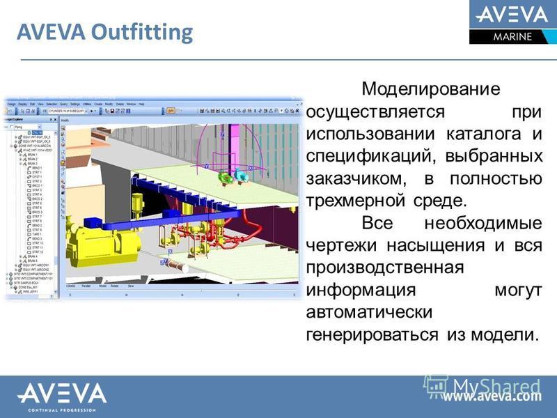 AVEVA Outfitting Моделирование осуществляется при использовании каталога и спецификаций, выбранных заказчиком, в полностью трехмерной среде. Все необходимые чертежи насыщения и вся производственная информация могут автоматически генерироваться из мод
