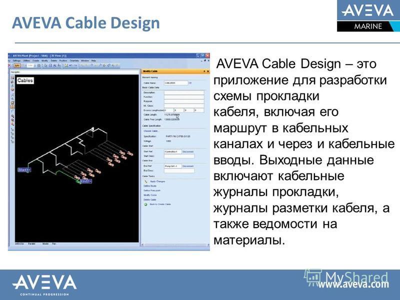 AVEVA Cable Design AVEVA Cable Design – это приложение для разработки схемы прокладки кабеля, включая его маршрут в кабельных каналах и через и кабельные вводы. Выходные данные включают кабельные журналы прокладки, журналы разметки кабеля, а также ве