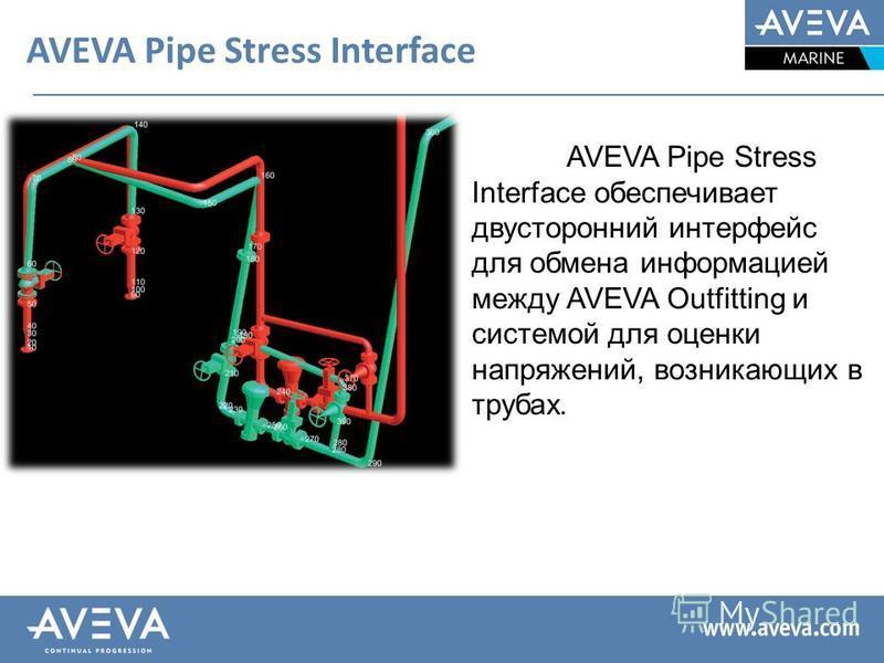 AVEVA Pipe Stress Interface AVEVA Pipe Stress Interface обеспечивает двусторонний интерфейс для обмена информацией между AVEVA Outfitting и системой для оценки напряжений, возникающих в трубах.