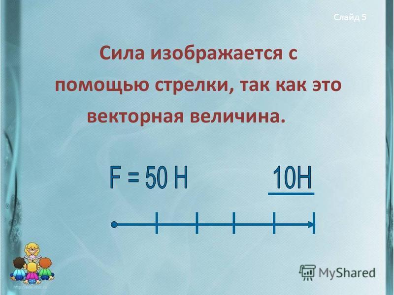 Слайд 5 Сила изображается с помощью стрелки, так как это векторная величина.