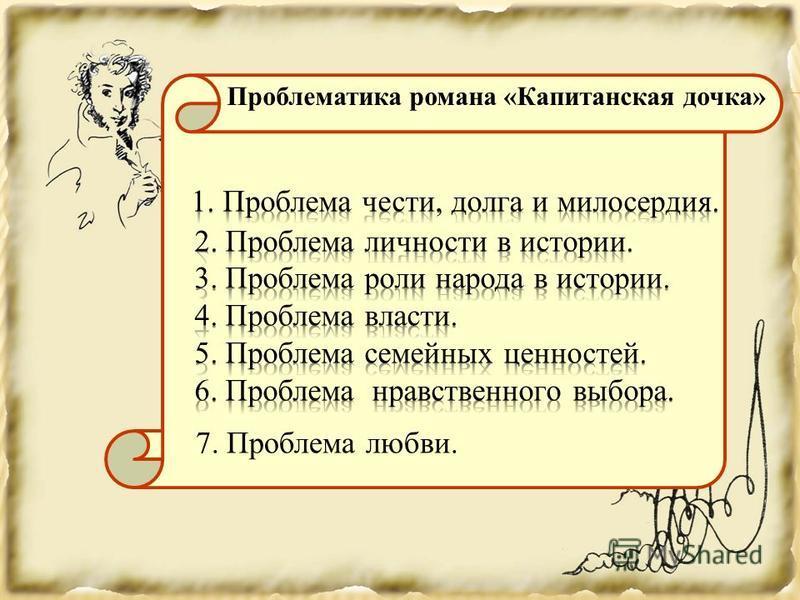 7. Проблема любви. Проблематика романа «Капитанская дочка»