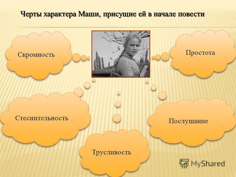 Скромность Стеснительность Послушание Простота Трусливость Черты характера Маши, присущие ей в начале повести