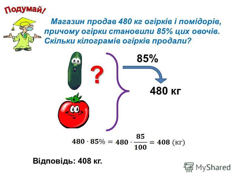 Магазин продав 480 кг огірків і помідорів, причому огірки становили 85% цих овочів. Скільки кілограмів огірків продали? 480 кг 85% Відповідь: 408 кг. ?