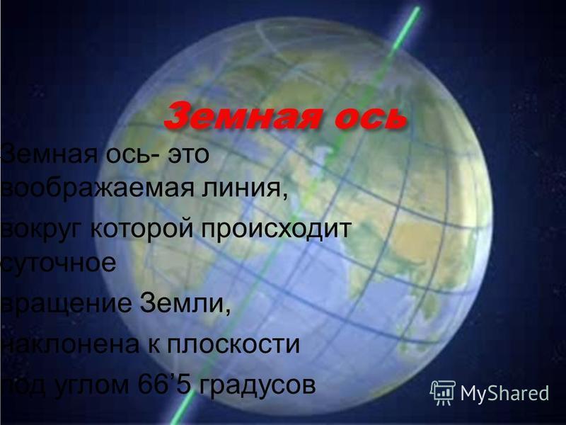 Земная ось Земная ось- это воображаемая линия, вокруг которой происходит суточное вращение Земли, наклонена к плоскости под углом 665 градусов