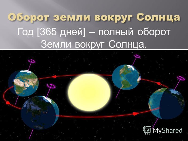 Год [365 дней] – полный оборот Земли вокруг Солнца.