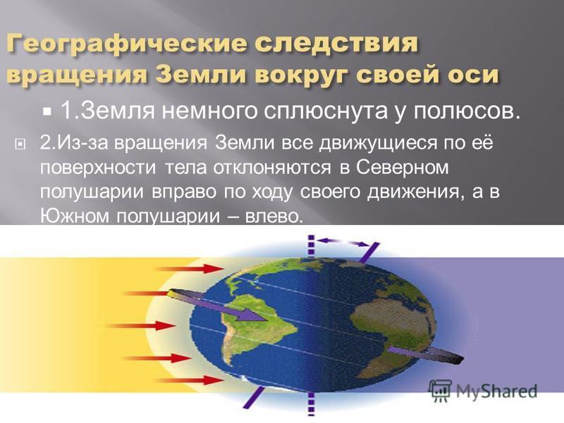 Географические следствия вращения Земли вокруг своей оси 1. Земля немного сплюснута у полюсов. 2.Из-за вращения Земли все движущиеся по её поверхности тела отклоняются в Северном полушарии вправо по ходу своего движения, а в Южном полушарии – влево.