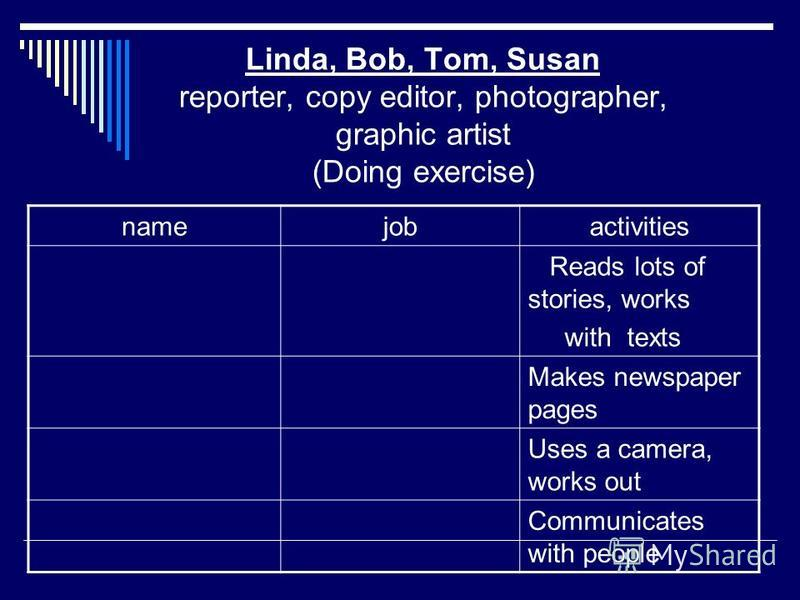 Linda, Bob, Tom, Susan reporter, copy editor, photographer, graphic artist (Doing exercise) namejobactivities Reads lots of stories, works with texts Makes newspaper pages Uses a camera, works out Communicates with people