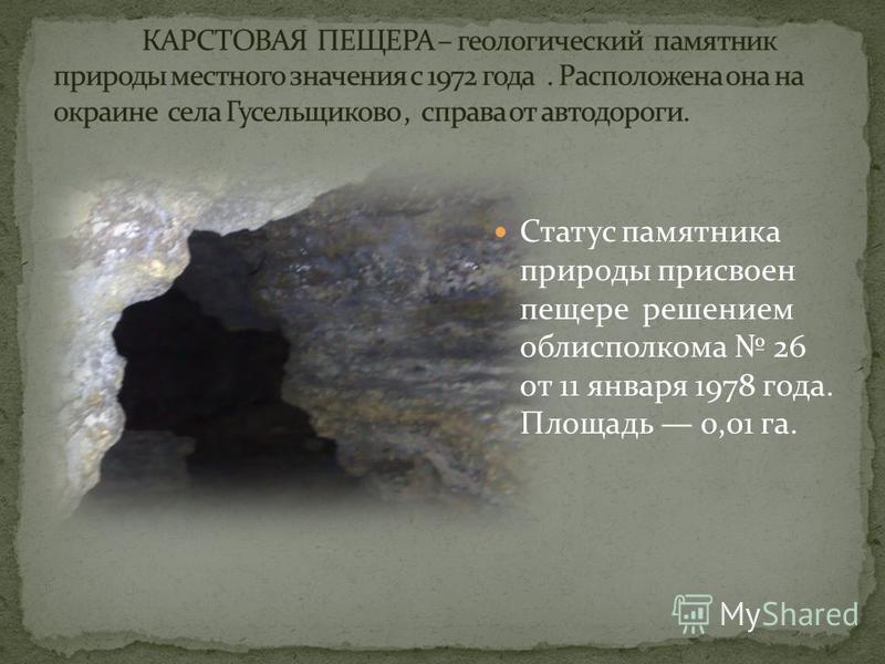 Статус памятника природы присвоен пещере решением облисполкома 26 от 11 января 1978 года. Площадь 0,01 га.