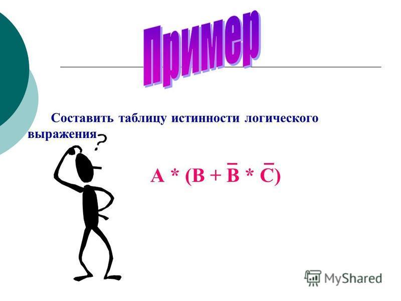 Составить таблицу истинности логического выражения А * (В + В * С)