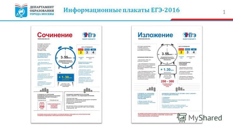 1 Информационные плакаты ЕГЭ-2016