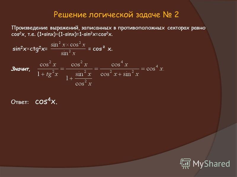 Решение логической задаче 2 Произведение выражений, записанных в противоположных секторах равно cos 2 x, т.е. (1+sinx)×(1-sinx)=1-sin 2 x=cos 2 x. sin 2 x×ctg 2 x= = cos² x. Значит, Ответ: соs 4 x.