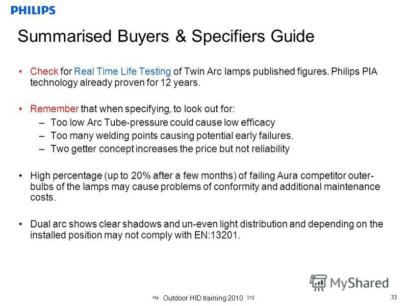 Наружное и спортивное освещение, 18.10.2012 33 Summarised Buyers & Specifiers Guide Check for Real Time Life Testing of Twin Arc lamps published figures. Philips PIA technology already proven for 12 years. Remember that when specifying, to look out f
