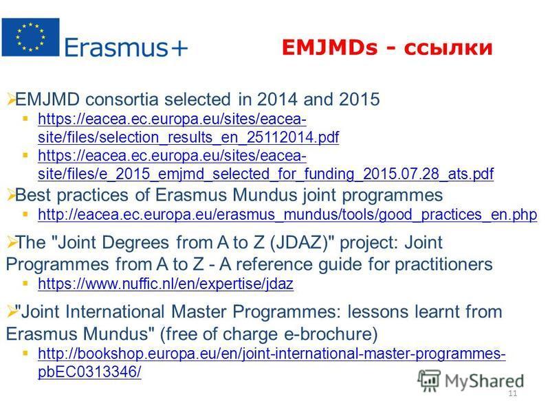 11 EMJMD consortia selected in 2014 and 2015 https://eacea.ec.europa.eu/sites/eacea- site/files/selection_results_en_25112014. pdf https://eacea.ec.europa.eu/sites/eacea- site/files/selection_results_en_25112014. pdf https://eacea.ec.europa.eu/sites/