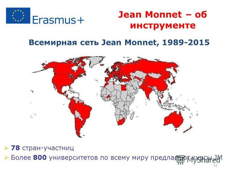12 78 стран-участниц Более 800 университетов по всему миру предлагают курсы JM Jean Monnet – об инструменте Всемирная сеть Jean Monnet, 1989-2015