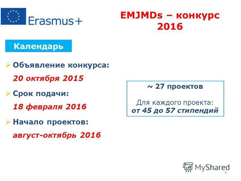 Объявление конкурса: 20 октября 2015 Срок подачи: 18 февраля 2016 Начало проектов: август-октябрь 2016 Календарь EMJMDs – конкурс 2016 ~ 27 проектов Для каждого проекта: от 45 до 57 стипендий 9