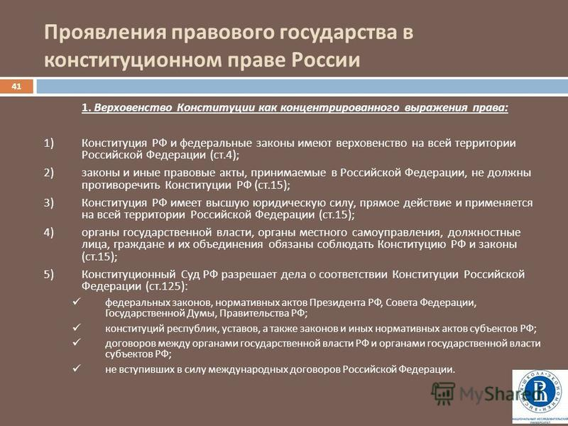 Проявления правового государства в конституционном праве России 41 1. Верховенство Конституции как концентрированного выражения права : 1)Конституция РФ и федеральные законы имеют верховенство на всей территории Российской Федерации ( ст.4); 2)законы