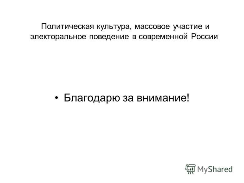 Политическая культура, массовое участие и электоральное поведение в современной России Благодарю за внимание!