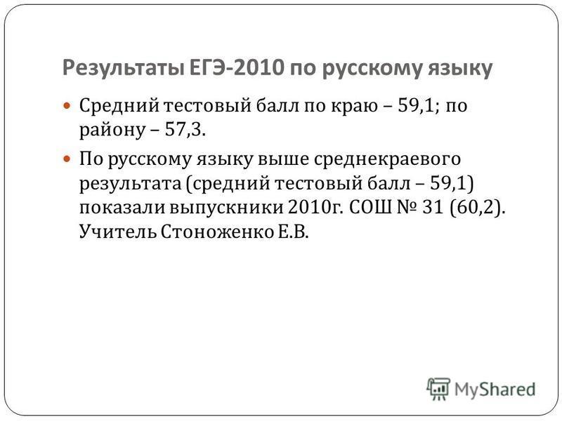 Результаты ЕГЭ -2010 по русскому языку Средний тестовый балл по краю – 59,1; по району – 57,3. По русскому языку выше средне краевого результата ( средний тестовый балл – 59,1) показали выпускники 2010 г. СОШ 31 (60,2). Учитель Стоноженко Е. В.
