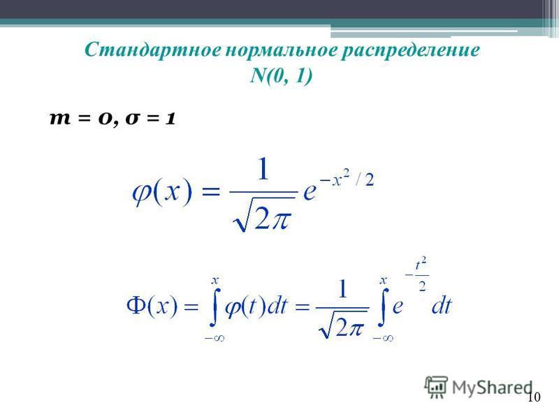 Стандартное нормальное распределение N(0, 1) m = 0, σ = 1 10