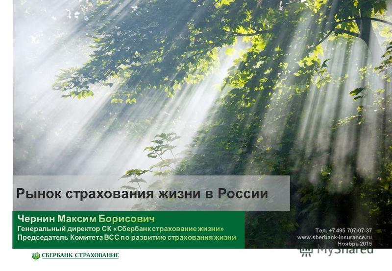 Рынок страхования жизни в России Тел. +7 495 707-07-37 www.sberbank-insurance.ru Ноябрь 2015