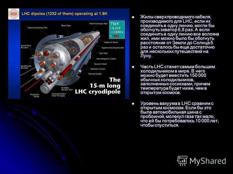 Жилы сверхпроводимого кабеля, производимого для LHC, если их соединить в одну линию, могли бы обогнуть экватор 6,8 раз. А если соединить в одну линию все волокна жил, ими можно было бы обогнуть расстояние от Земли до Солнца 5 раз и осталось бы еще до