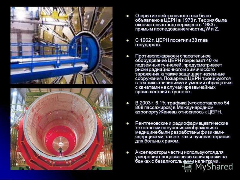 Открытие нейтрального тока было объявлено в ЦЕРН в 1973 г. Теория была окончательно подтверждена в 1983 г. прямым исследованием частиц W и Z. Открытие нейтрального тока было объявлено в ЦЕРН в 1973 г. Теория была окончательно подтверждена в 1983 г. п