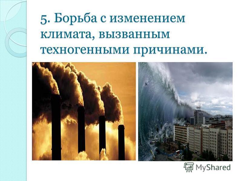 5. Борьба с изменением климата, вызванным техногенными причинами.