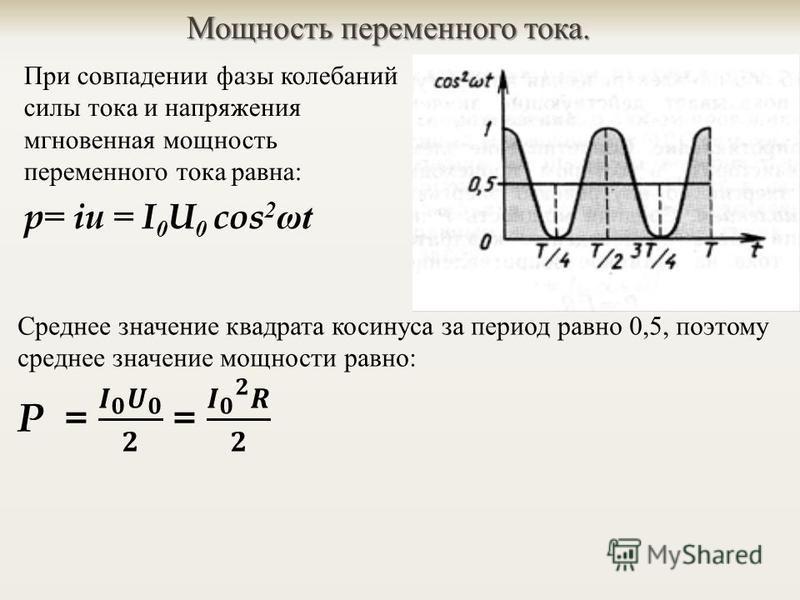 Мощность переменного тока. При совпадении фазы колебаний силы тока и напряжения мгновенная мощность переменного тока равна : p= iu = I 0 U 0 cos 2 ω t
