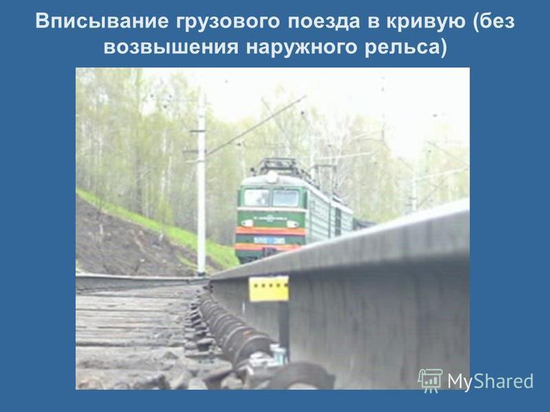 Вписывание грузового поезда в кривую (без возвышения наружного рельса)