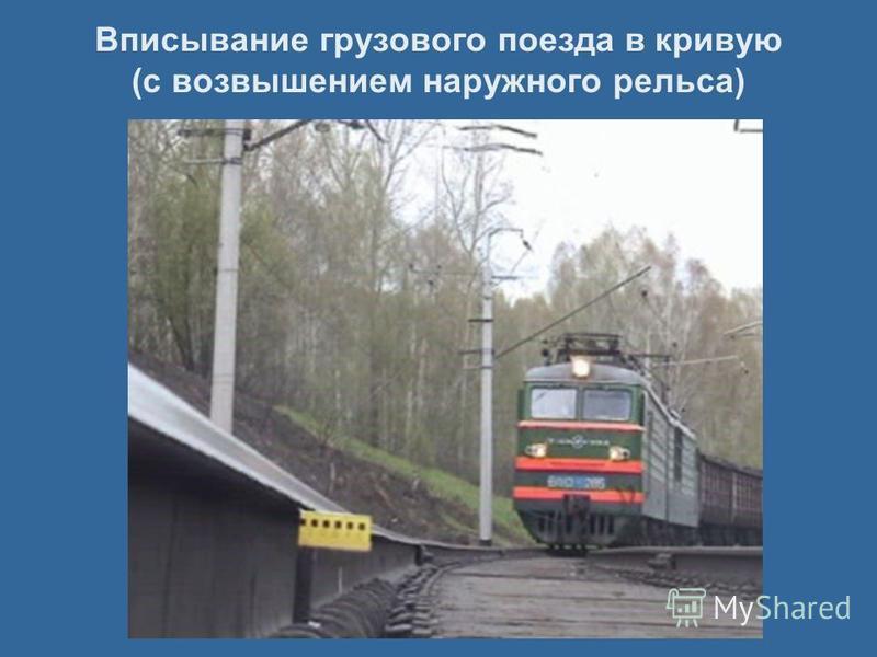 Вписывание грузового поезда в кривую (с возвышением наружного рельса)
