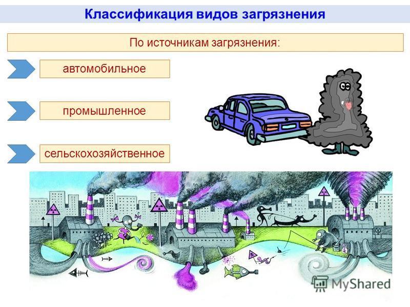 Классификация видов загрязнения По источникам загрязнения: автомобильное промышленное сельскохозяйственное