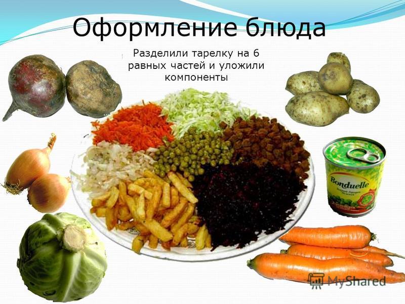 Оформление блюда Разделили тарелку на 6 равных частей и уложили компоненты