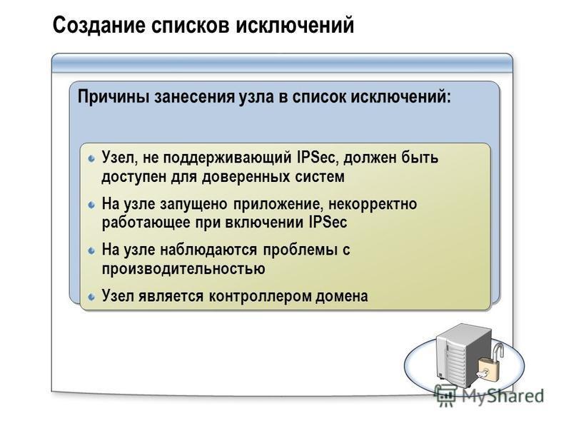 Создание списков исключений Причины занесения узла в список исключений: Узел, не поддерживающий IPSec, должен быть доступен для доверенных систем На узле запущено приложение, некорректно работающее при включении IPSec На узле наблюдаются проблемы с п