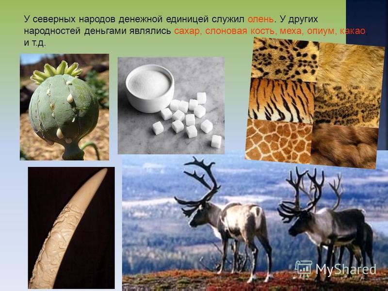 У северных народов денежной единицей служил олень. У других народностей деньгами являлись сахар, слоновая кость, меха, опиум, какао, и т.д.