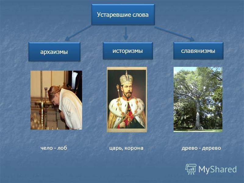 Устаревшие слова архаизмы историзмы славянизмы чело - лоб царь, корона древо - дерево