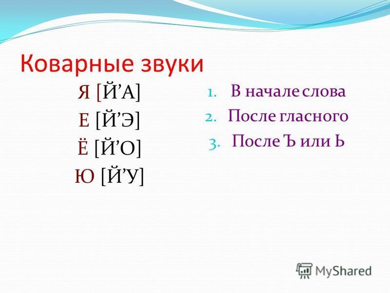 Коварные звуки Я [ЙА] Е [ЙЭ] Ё [ЙО] Ю [ЙУ] 1. В начале слова 2. После гласного 3. После Ъ или Ь